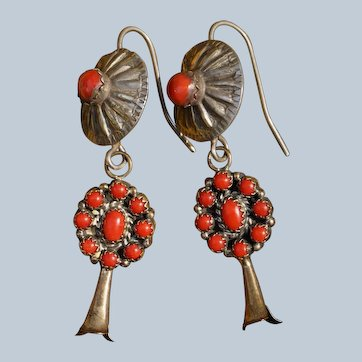 Vintage Coral Squash Blossom Earrings