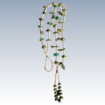 Navajo Shell Heishi And Turquoise Necklace
