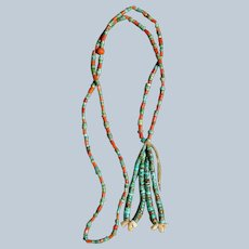 Vintage Coral And Turquoise Necklace With Jacla