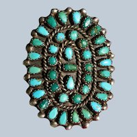 Vintage Large Zuni Turquoise Cluster Ring