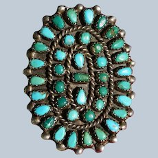 Vintage Large Zuni Turquoise Cluster Ring