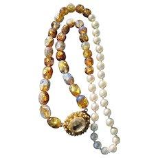 Antique Venetian Murano Foil Beads With Georgian Gilt Pendant/Clasp