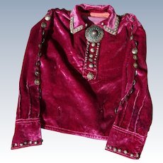 Vintage Navajo  Child's Velvet Blouse With Buttons