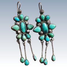 Large Vintage Turquoise Earrings