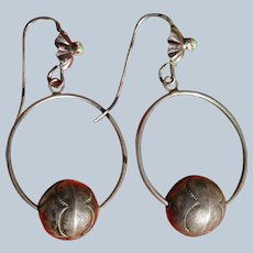 Vintage Bench Bead Hoop Earrings
