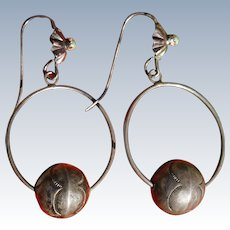 Vintage Bench Bead Hoop Earrings