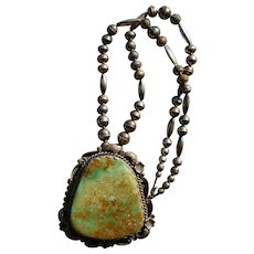 Large Navajo Pendant Green Turquoise Necklace