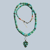 Turquoise Heishi Necklace With Vintage Fred Harvey Era Pendant