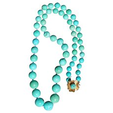 Persian Turquoise Necklace With 14kt Gold Clasp