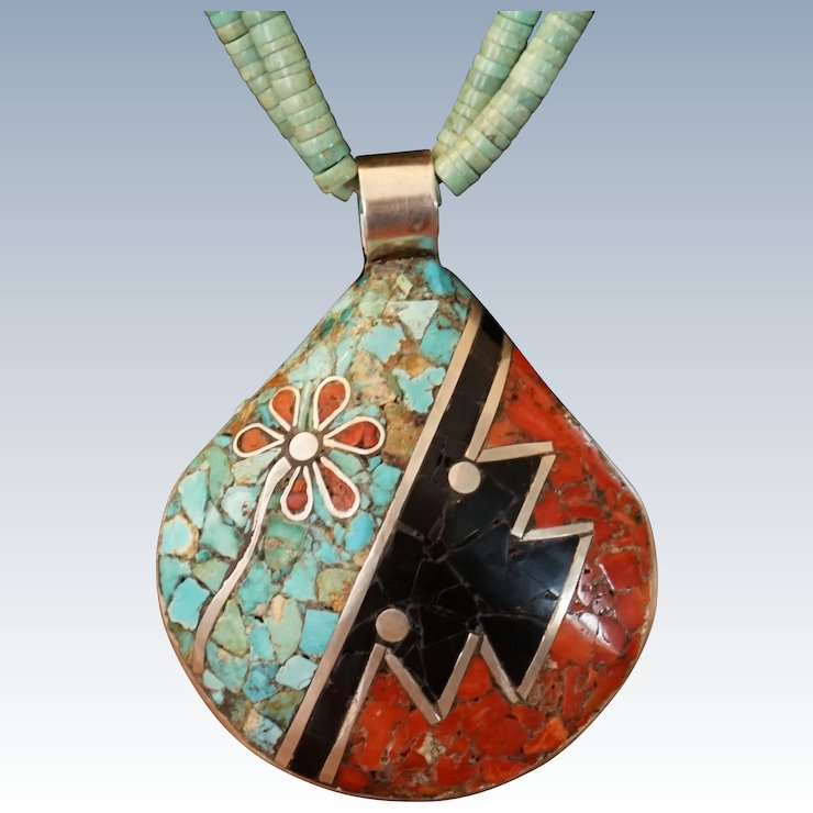 king d necklace silver with and ammonite inlay turquoise jay pendant sterling products