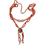 Georgian Coral Necklace With Cameo Clasp Pendant