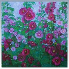 Hollyhock Painting By Sawdust Art Festival Artist Rachel Uchizono