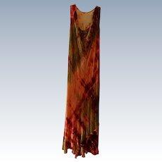 Vintage Silk Velvet Tie-Dyed Dress