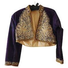 Purple Velvet Turkish Bolero Jacket