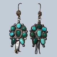 Vintage Turquoise Squash Blossom Earrings