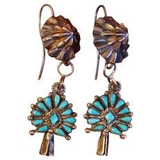 Vintage Squash Blossom Turquoise Earrings
