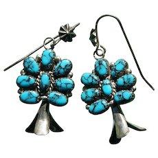 Vintage Godber Turquoise Squash Blossom Earrings