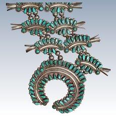 Vintage Cerrillos Turquoise Squash Blossom Necklace