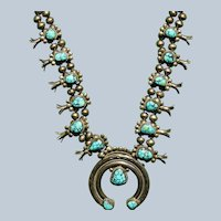 Vintage Spiderweb Number 8 Turquoise Squash Blossom Necklace