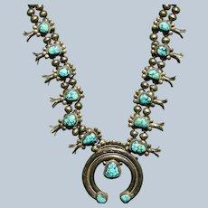 Vintage Spiderweb Number 8 Turquoise Squash Blossom Necklace