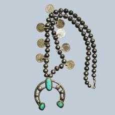 Vintage Squash Blossom Necklace With Mercury Dime Blossoms