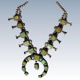 King Manassa Turquoise Squash Blossom Necklace