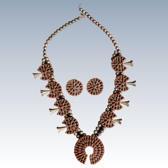 Navajo Coral Cluster Squash Blossom Necklace And Matching Earrings