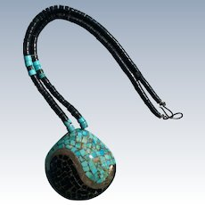 Santo Domingo Turquoise, Jet, and Shell Pendant Necklace