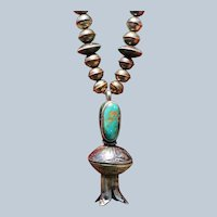 Royston Turquoise Half Dollar Squash Blossom Pendant Necklace