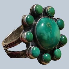 Vintage Green Turquoise Satellite Ring