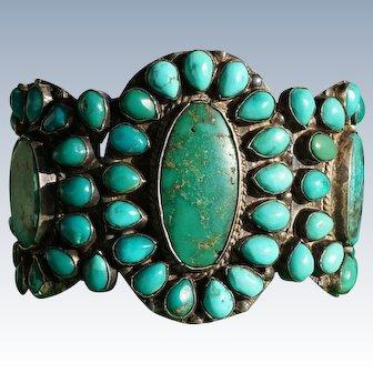 1930's Vintage Turquoise Cluster Bracelet