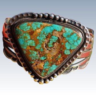 Vintage Navajo Silversmith Aaron Toadlena Turquoise Bracelet