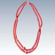 Antique Mediterranean Coral Trade Bead Necklace With Coral Clasp
