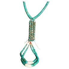 Vintage Turquoise Jocla Necklace With Vintage  Button Pendant
