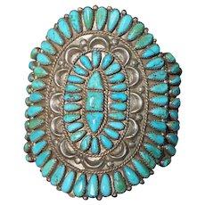 Large Vintage Turquoise Cluster Bracelet