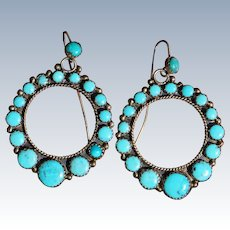 Vintage Turquoise Hoop Earrings