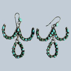 Vintage Zuni Snake Eye Turquoise Earrings