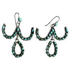 Vintage Zuni Snake Eye Turquoise Earrings
