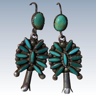Vintage Zuni Turquoise Squash Blossom Earrings