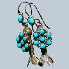 Vintage Sleeping Beauty Turquoise Squash Blossom Earrings