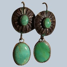 Vintage Button Style Green Turquoise Earrings