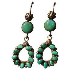 Vintage Green Turquoise Earrings