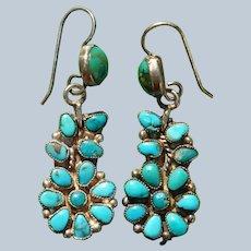 Vintage Zuni Petit Point Turquoise Flower Earrings