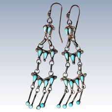 Vintage Turquoise Chandelier Earrings
