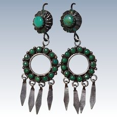 Vintage Green Turquoise Earrings