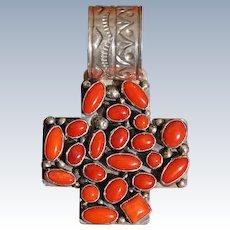 Vintage Coral Cross Pendant
