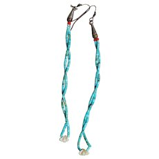 Vintage Long Turquoise Jocla Earrings