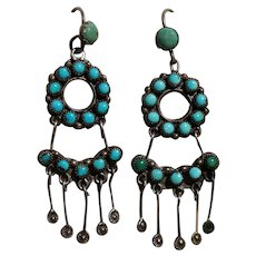 Vintage Turquoise Earrings With Stamped Tabs
