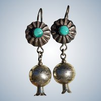 Squash Blossom Bead Stamped Button Style Earrings