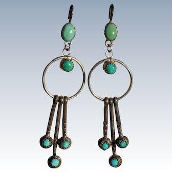 Vintage Turquoise Hoop Tab Earrings